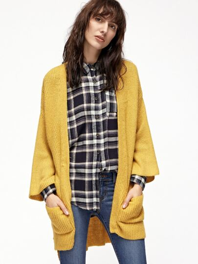 Yellow Drop Shoulder Pocket Front High Low Cardigan