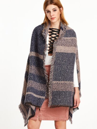 Navy and Pink Eyelash Fringe Striped Fuzzy Shawl