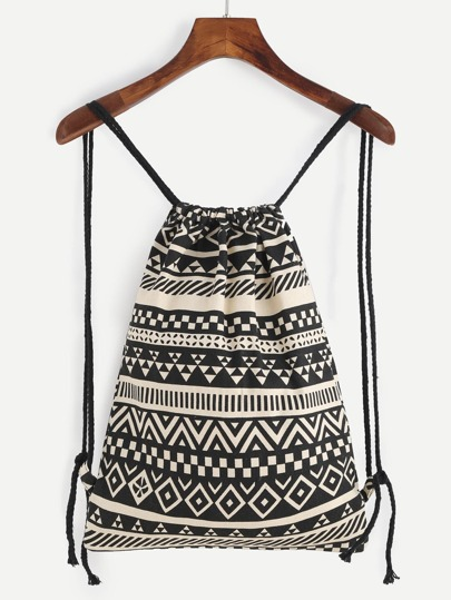 Black and Beige Canvas Geometric Bucket Backpack With Rope Strap