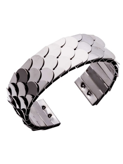 Silver Plated Fish Scale Open Wrap Cuff