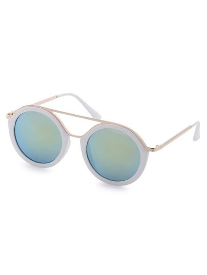 White Frame Metal Trim Iridescent Lens Sunglasses