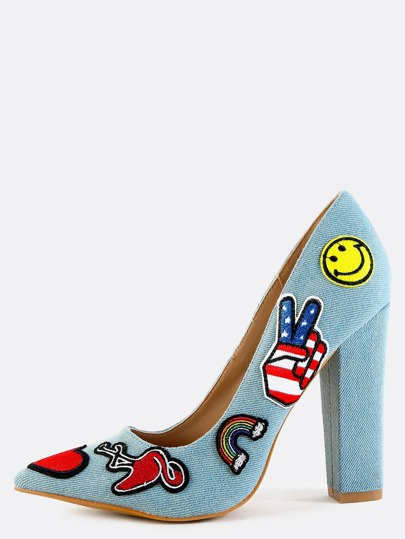 Denim Patched Pointy Pumps BLUE