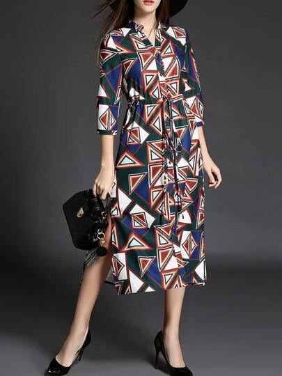 Multicolor V Neck Print Drawstring Split Dress