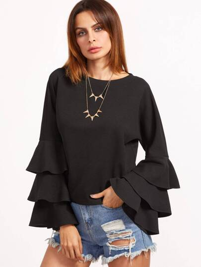 Black Layered Bell Sleeve Top