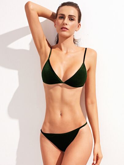 Dark Green Plain Sexy Velvet Bikini Set