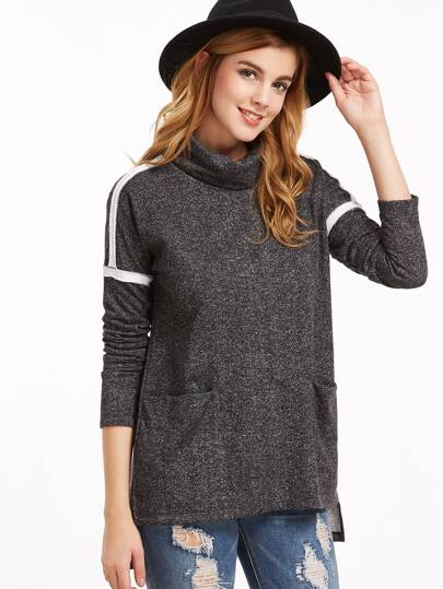 Black Marled Knit Turtleneck Striped Sleeve High Low T-shirt