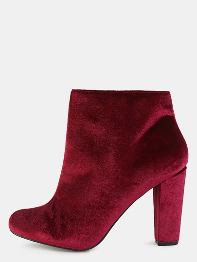 Short Smooth Velvet Ankle Booties BURGUNDY