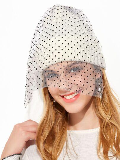 Cappello Beanie A Rete Pom Pom - Bianco Contrasto