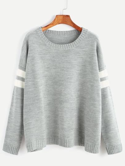 Jersey con hombro caído y rayas en manga - gris