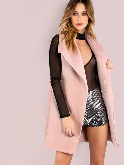 Pink Faux Shearling Oversized Drape Collar Vest