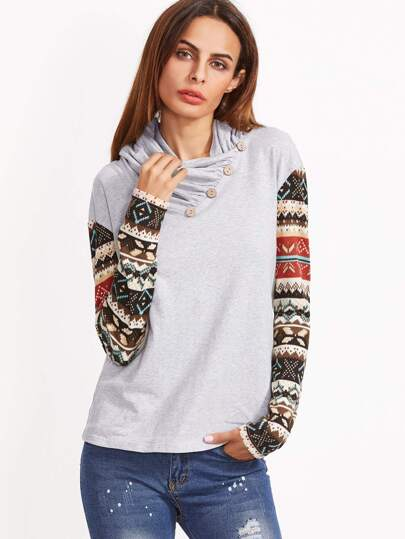 Heather Grey Buttoned Cowl Neck Tribal Print Sleeve T-shirt