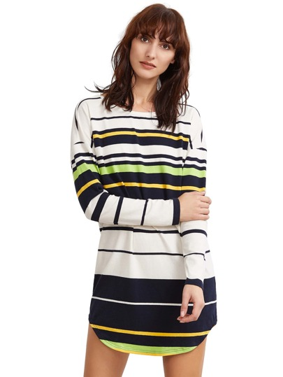 Yellow Striped V Back Curved Hem Dress