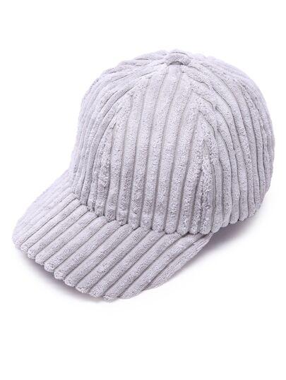 Cappello Di Baseball Di Velluto A Coste - Grigio Chiaro