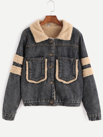 Black Dual Pocket Front Denim Jacket With Faux Shearling