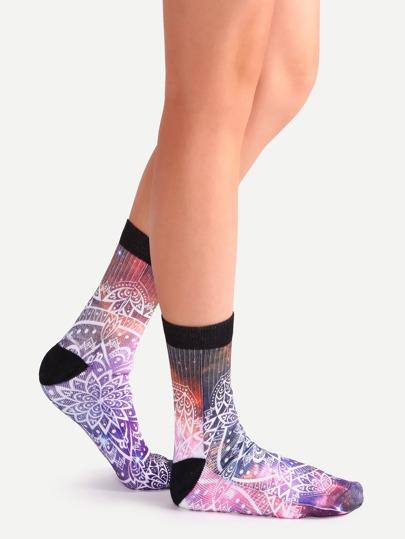 Lotus Flower Galaxy Print Crew Socks For Women