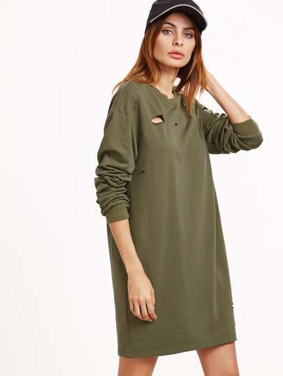 Drop Shoulder Distressed Pullover Dress