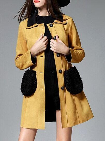 Brown Lapel Tie-Waist Pockets Coat