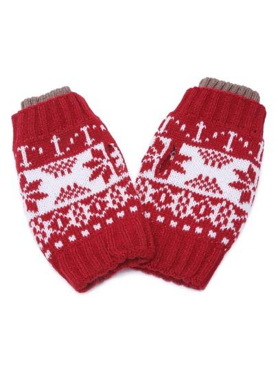 Красные вязаные перчатки без пальцев с узором снежинки