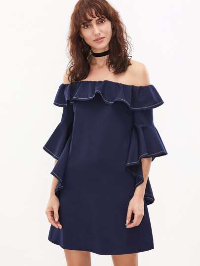 Navy Topstitch Off The Shoulder Ruffle Dress
