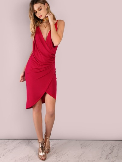 Double T Overlap Wrap Dress RED