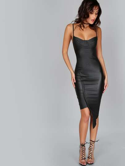 Coated Bustier Asymmetrical PU Bodycon Dress BLACK