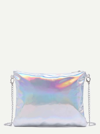 Silver Metallic PU Clutch Bag With Chain Strap