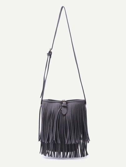 Dark Grey Fringe Tassel Buckled Strap Nubuck Leather Crossbody Bag