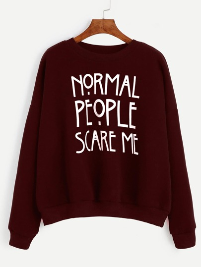 Burgundy Slogan Print Drop Shoulder Sweatshirt