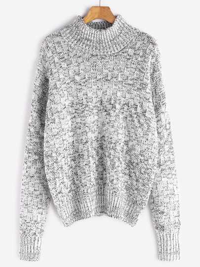 Pull marleté tricot carré -blanc et noir