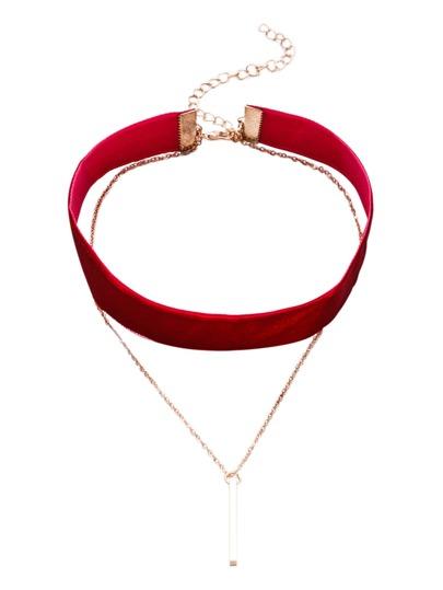 Burgundy Layered Bar Pendant Velvet Choker Necklace