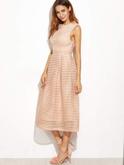Pink Hollow Out Flare Sleeveless Dress