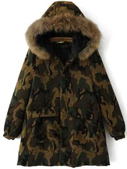 Army Green Hooded Camouflage Coat With Pocket