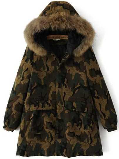 Veste camouflage avec capuche et poche - vert armée