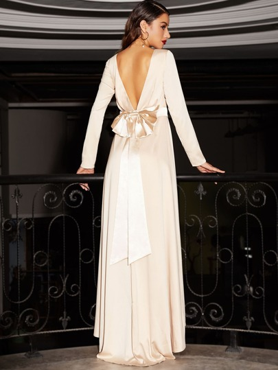 Vestido maxi espalda V con lazo - albaricoque