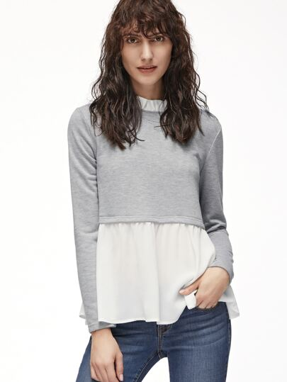 Contrast Ruffle Collar And Hem T-shirt