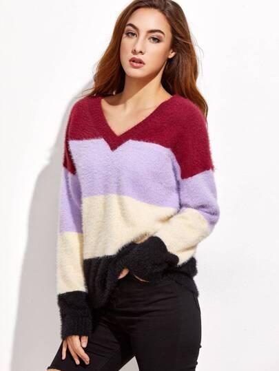 Color Block V Neck Fluffy Sweater