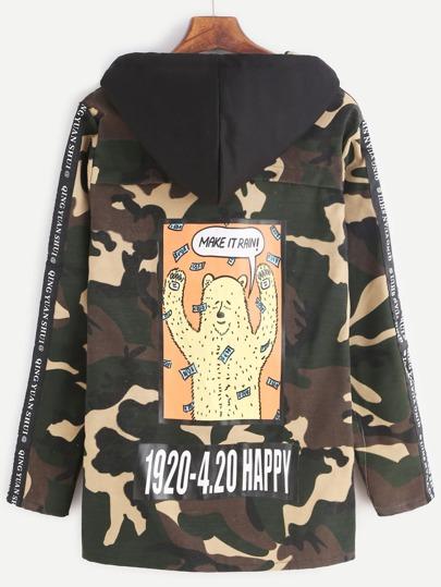 Камуфляжная куртка с карикатурным принтом с капюшоном на кулиске