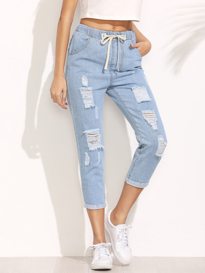 Distressed Drawstring Waist Cropped Jeans