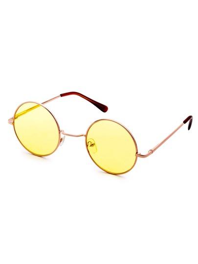 Gafas de sol estilo de retro con marco de metal y lentes amarillo