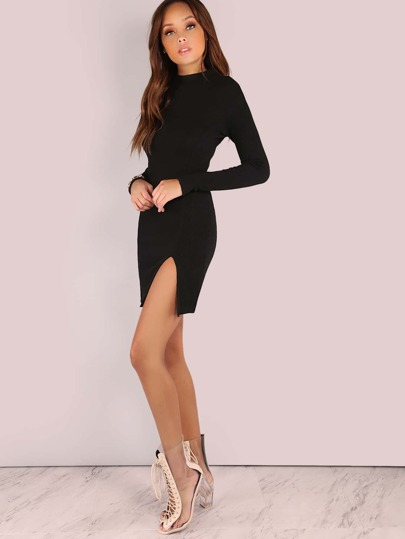 Ribbed Mock Neck Sleeved Slit Dress BLACK