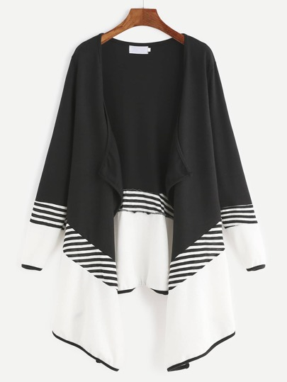 Black Contrast Striped Drape Front Coat