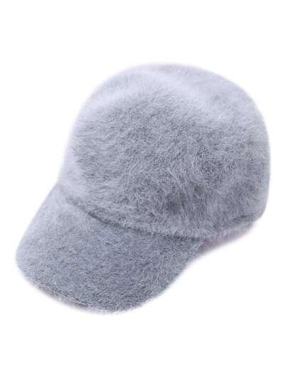 Светло-серая пушистая шляпа из волос кролика