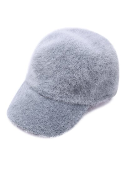 Light Grey Fuzzy Rabbit Hair Cap