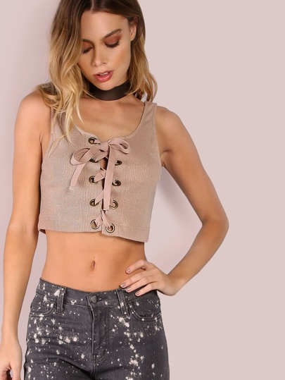 Ribbed Lace Up Crop Top TAUPE