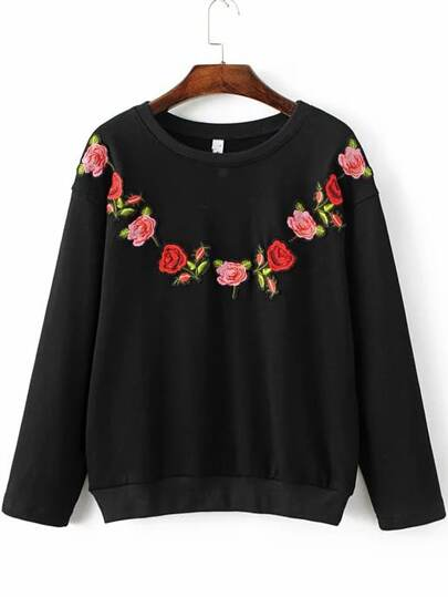 Black Floral Embroidery Ribbed Trim  Sweatshirt