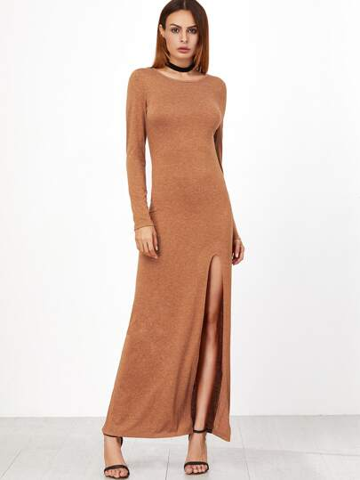 Camel Marled High Slit Maxi Dress