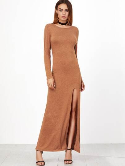 Vestido maxi con abertura alta - camello