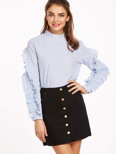 Blue Vertical Striped Mock Neck Ruffle Sleeve Blouse
