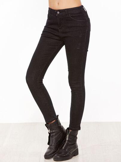 Skinny Knöchel Jeans -schwarz
