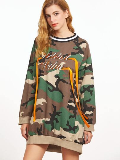 Contrast Striped Trim Camo Print Embroidered Sweatshirt Dress